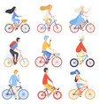 people riding bicycles set cycling men and women vector image vector image