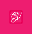 pink white gv initial letter logo vector image vector image