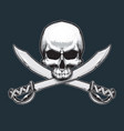 pirates jawless skull and swords vector image