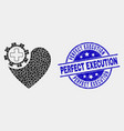 pixel heart gear icon and distress perfect vector image vector image