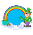 rainbow circle with leprechaun vector image