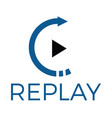 replay audio and video logo design vector image