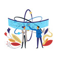 scientists and atom plants and scheme isolated vector image vector image