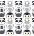 seamless pattern with cute black and white vector image