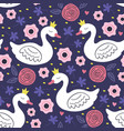 seamless pattern with white princess swan vector image