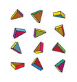 set of colorful 3d triangles in pop art style vector image