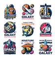 space astronaut spaceship and planet icons vector image vector image