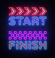 start finish neon sign finish design vector image