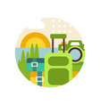 summer landscape with suitcase and camera in logo vector image vector image
