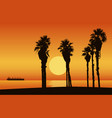 sunset beach with silhouette of palm trees vector image