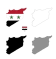 Syria country black silhouette and with flag on vector image vector image