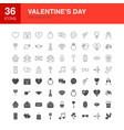 valentines day line web glyph icons vector image