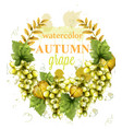 white grapes wreath watercolor card vector image