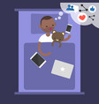 young black blogger dreaming about success in vector image vector image