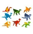 Cartoon flying dragons flat icons vector image