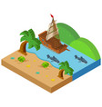 3d design for beach scene with ship and animals vector image vector image