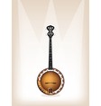 A Beautiful Banjo on Brown Stage Background vector image vector image