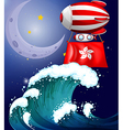 A floating balloon with the flag of Hongkong vector image vector image