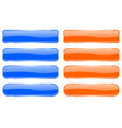 blue and orange glass buttons shiny rectangle 3d vector image vector image