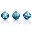 blue christmas baubles on white background vector image