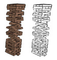 brown wood building block tower vector image