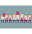Businessmen composing with letters a Business vector image vector image