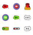 button no icons set cartoon style vector image