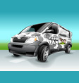 cartoon farm van with abstract cow skin theme vector image vector image