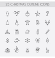 Christmas outline icons Holiday New Year icons vector image vector image