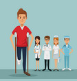 color background group team specialist doctors vector image
