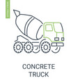 concrete truck icon construction mixer vehicle vector image vector image