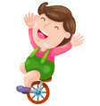Funny boy with bicycle vector image