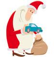 funny santa claus cartoon character with presents vector image