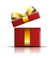 gift box gold-red icon open surprise present vector image vector image