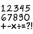 hand drawn numbers doodle numbers isolated vector image