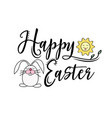 happy easter greeting text decorate with sun and vector image