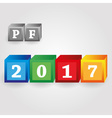 happy new year 2017 from red green blue and yellow vector image vector image