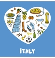 Italy Colored Doodles Collection vector image vector image
