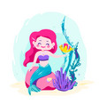 Little cute mermaid sitting on a rock siren with