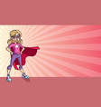 little super girl ray light background vector image vector image