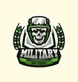 logo emblem military theme skull helmet vector image vector image