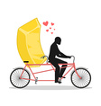 Lover gold Golden bullion on bicycle Lovers of vector image