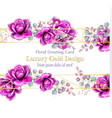 luxury rose flowers watercolor card golden vector image vector image