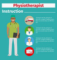 Medical equipment instruction for physiotherapist vector image