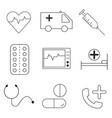 medical health care black outline icons set eps vector image