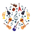 music notes and instruments pattern vector image
