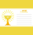 my first communion card vector image vector image