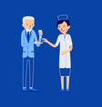 nurse and patient elderly patient holds glass of vector image vector image