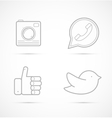 Outline icons of camera handset like and bird vector image vector image