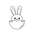 outline of easter bunny inside egg vector image